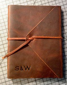 Large Leather Book Personalized Hand-bound door HuckleberryBooks