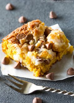 Pumpkin Earthquake Cake - a moist pumpkin cake with coconut, pecans, and swirled…