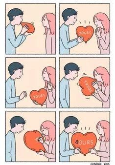 Cute Couple Comics, Couples Comics, Cute Couple Cartoon, Sundae Kids, Cute Canvas Paintings, Animated Love Images, Fun Comics, Heartfelt Quotes, Cute Love