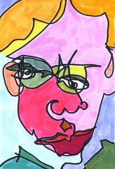 blind contour portrait watercolor - Google Search