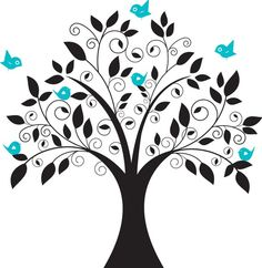 Elegant/Whimsical Vinyl Tree and Birds Decal  by WallWorthy, $65.00