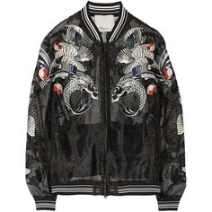 3.1 Phillip Lim Tattoo-embroidered organza jacket ($990) ❤ liked on Polyvore featuring outerwear, jackets, coats & jackets, tops, black, evening, evening jackets, embroidery jackets, colorful jackets and black zip jacket