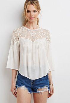 Camisa Bordada con Paneles de Malla   Forever 21 - 2000155670