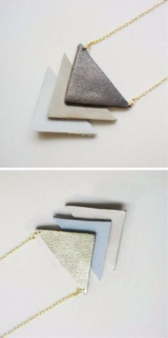 Creative Leather Crafts - Leather Geometric Necklace - Best DIY Projects Made With Leather - Easy Handmade Do It Yourself Gifts and Fashion - Cool Crafts and DYI Leather Projects With Step by Step Tutorials Clay Jewelry, Jewelry Crafts, Fine Jewelry, Handmade Jewelry, Diy Jewellery, Designer Jewellery, Diy Leather Jewellery, Jewelry Ideas, Gold Jewelry