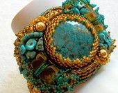 AMBER Bear Beaded Cuff Bracelet by Cindy Caraway