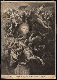 Lucas Emil Vorsterman after Sir Peter Paul Rubens, 'The Fall of the Rebel Angels', National Gallery of Art, Washington, D. Rubens Paintings, Archangel Tattoo, Renaissance Kunst, Inspiration Tattoos, Baroque Art, Biblical Art, Peter Paul Rubens, Illustration Art, Illustrations