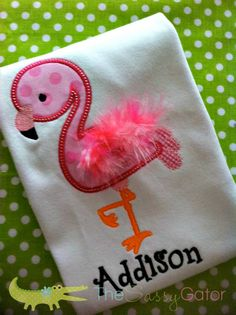 Flamingo Applique TShirt with Feathers  Here is another cute idea inspired from a Just Peachy Applique design!! Love it!