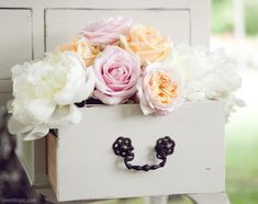 Vintage drawer of flowers wedding summer party decor vintage outdoors flowers country