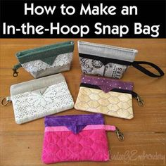"""After I posted the Snappy Glasses Cases, I was bombarded with requests for a version that would fit in a 5×7"""" hoop so here's a new bevy of bags. Although they may look different, they're all d…"""