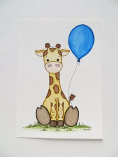 Nursery Art Watercolor Painting Baby Giraffe By Waterblooms