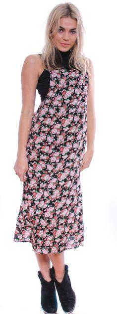 Vintage Inspired Black Floral Long Overall Dress Sz8-10 - DRESSES - Ladies