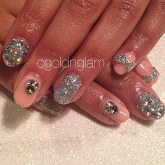 Nude and bling gel nails  #cgoldnglamnails