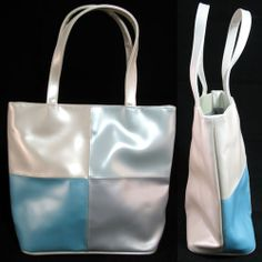 NEW Womens BLUE CREAM WHITE GRAY Color Block Squares Travel Tote Handbag BAG $1 sorry this item is SOLD ... we sell more womens bags handbags at http://www.tropicalfeel.com