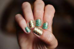 metallic chevron manicure