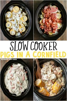 Slow Cooker Pigs in a Cornfield is slow cooker corn on the cob, pork chops, bacon, onion, potatoes and topped with a creamy sauce! - The Magical Slow Cooker slowcooker porkchops 322992604526336592 Crock Pot Slow Cooker, Slow Cooker Recipes, Cooking Recipes, Crock Pots, Healthy Crockpot Recipes, Pork Recipes, Crockpot Meals, Vegan Recipes, Crockpot Dishes