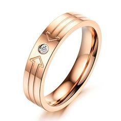 Unendlich U Einfach Doppel Pfeil Form Edelstahl Mädchen/Damen Rose Gold Band Ring Ringgröße 49 mit Gabe Beutel