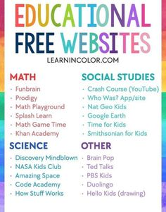 Educational Websites For Kids, Free Learning Websites, Educational Crafts, Fun Websites For Kids, Kindergarten Websites, Apps For Teachers, Educational Leadership, Educational Technology, Home Learning