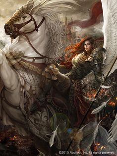f Angel Paladin Plate Armor Wings Horseback barding battle eastern border story Fantasy Warrior, Fantasy Girl, Angel Warrior, Fantasy Women, Fantasy Rpg, Medieval Fantasy, Fantasy Artwork, Dark Fantasy, Fantasy Battle
