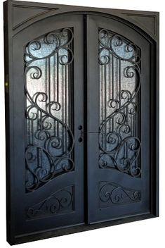 Sofia Exterior Wrought Iron Door - August 18 2019 at Iron Front Door, Double Front Doors, Front Door Entrance, Door Entryway, Entry Doors, Main Door Design, Front Door Design, Gate Design, Shop Doors