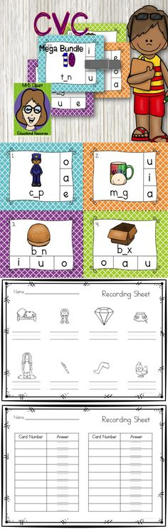 CVC Bundle including all 5 middle vowels, in a fun and colorful format with 3 different recording sheets formats. This pack can be used as clip it activity or for  write the room game.