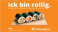 """Lieferando Plakat """"Ick bin rollig."""""""