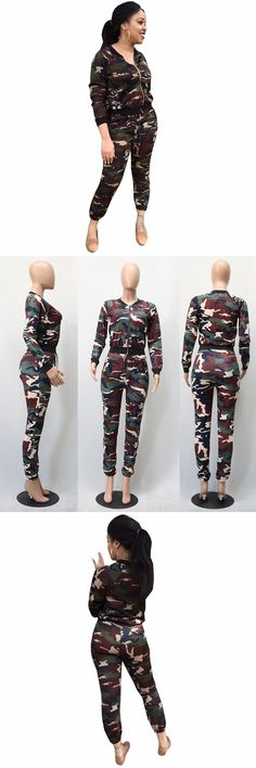 Hot fashion design 2017 casual costume full sleeve camouflage rompers overalls for women set 2077