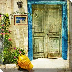 Grecian Stoop Painting Print on Wrapped Canvas