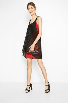 Ready for the party with this Desigual black and red chiffon dress for women . d9d2628c4459