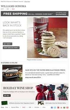 Williams-Sonoma >> sent 12/2012 >> Now Back In Stock >> While some back-in-stock emails are sent by request, Williams-Sonoma sent this one to subscribers who browsed this product and abandoned their site because it was out of stock. They wisely add seasonal secondary messaging to better speak to holiday shoppers. — Tana Babcock, Design Consultant, ExactTarget