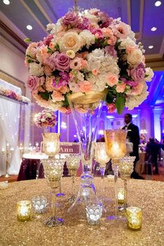 New Wedding Centerpieces Tall Purple Candles Ideas Purple Wedding Centerpieces, Floral Centerpieces, Floral Arrangements, Tall Centerpiece, Centerpiece Ideas, Trumpet Vase Centerpiece, Centrepieces, Reception Decorations, Event Decor