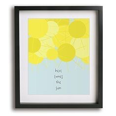 Here Comes The Sun | The Beatles inspired modern song lyric art print