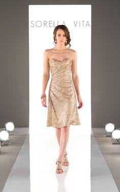 8793 Cocktail Length Sequin Metallic Bridesmaid Dress by Sorella Vita