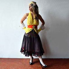 Black Crinoline transforms into the perfect Rockabilly swing skirt. Artisanal fashion stands out with hand painted under skirt & ribbon flowers. Bright Flowers, Red Flowers, Swing Skirt, Vintage Velvet, Velvet Ribbon, Bright Yellow, Rockabilly, Hemline, Upcycle