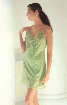 green lace slip from vintage lingerie catalog (via Vintage-Erotica Forums)