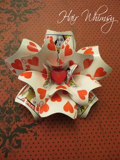 I bet i could figure out how to make this......Playing Card Brooch or Hair Accessory - Queen of Hearts Alice in Wonderland - (Large)