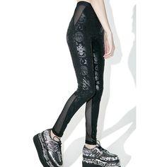 Killstar Ruthless Taste It Leggings ($55) ❤ liked on Polyvore featuring pants, leggings, legging pants, white high waisted trousers, white high waisted leggings, white high waisted pants and high waisted leggings