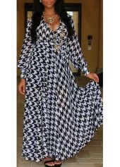Houndstooth Pattern Lantern Sleeve Maxi Dress