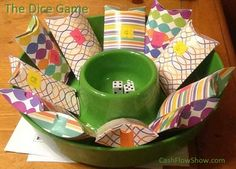 The Dice Game This game is great fun especially when you set it up to look like a real game. http://www.createacashflowshow.com/party-games/dice-game.htm