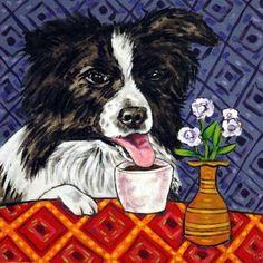 4x4  border collie dog coffee glass art tile coaster gift JSCHMETZ modern folk