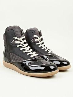 Maison Martin Margiela 22 Men's Black Poly-Coated High Top Sneakers   oki-ni