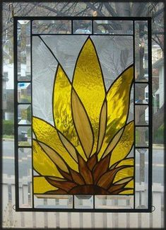 Abstract Sunflower Stained Glass Window Panel