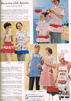 Aprons for the whole family Vintage Apron Pattern, Aprons Vintage, Apron Patterns, Vintage Outfits, Vintage Fashion, Vintage Clothing, Vintage Kitchenware, Bias Tape, Princess Style