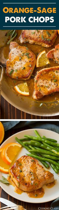 Orange-Sage Pork Chops - quick and easy yet so flavorful and delicious! (cooking a ham pork chops) Easy Pork Chop Recipes, Delicious Dinner Recipes, Pork Recipes, Paleo Recipes, Cooking Recipes, Paleo Meals, Pork Dishes, Grilled Meat, Pork Chops