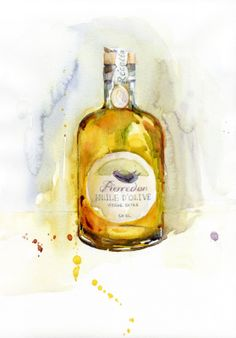 watercolor, drawn, food illustration, oil, huile d'olive