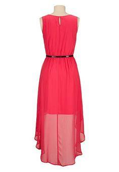 high-low belted chiffon dress - maurices.com