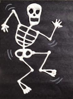 skeleton art for kids, halloween art, dem bones Halloween Art Projects, Halloween Rocks, Easy Art Projects, Halloween Painting, Halloween Skeletons, Happy Halloween, Skeleton Art, Puffy Paint, Autumn