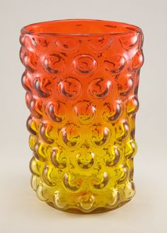 Large Signed Blenko Art Glass Vineyard Bubble Vase. Signed with the sandblast etch Blenko trademark.  Shown in 1960 Blenko catalog, part no. 6041.  From the 'Vineyard' line. Designed by Wayne Husted and made in 1960.