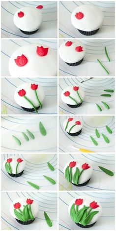 Tulipanes en ponquesitos - Tulip tutorial for cupcakes. Site has translate button.---this is a really cute cupcake and an easy looking technique. I wonder if it would translate to whole cakes. Fondant Toppers, Fondant Cupcakes, Cupcake Cakes, Cup Cakes, Cupcake Toppers, Cupcake Tutorial, Fondant Tutorial, Flower Tutorial, Fondant Figures