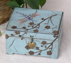 Keepsake Box Dragonfly Pale Blue Hand Painted by TrueVineTreasures, $35.00