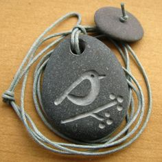 Reserved bird and berries beach pebble necklace by birdahoy Stone Crafts, Rock Crafts, Arts And Crafts, Rock Jewelry, Stone Jewelry, Jewellery, Bird Crafts, Nature Crafts, Dremel Drill